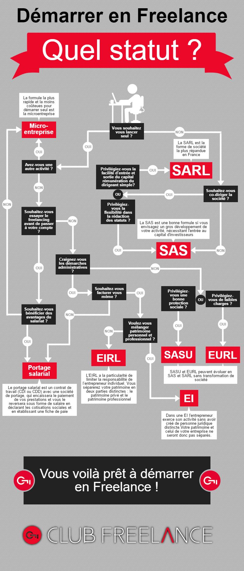 Infographie : choisir son statut de freelance
